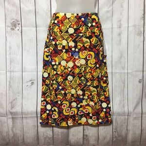 NWT LuLaRoe Cassie Skirt L Primary Abstract Blue